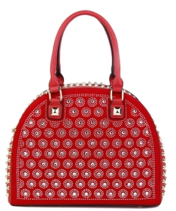 Rhinestone Studded Handbag SN130 RED