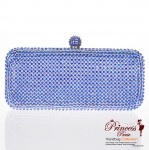Designer Inspired Evening Bag Covered In Rhinestone Pattern w/ Lift Up Knob Closure