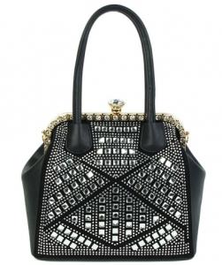 Rhinestone Studded Handbag S810 Black