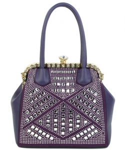 Rhinestone Studded Handbag S810 PURPLE
