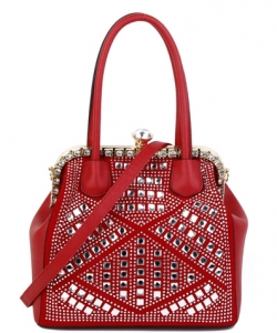 Rhinestone Studded Handbag S810 RED