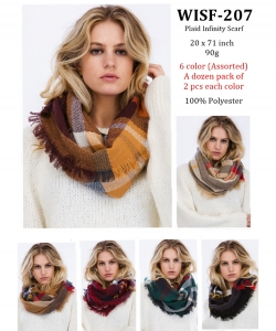 Plaid Infinity Scarf WISF-207 A Dozen pack