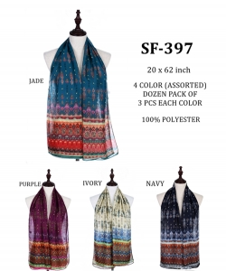 Scarves Styled  SF-397 A Dozen pack