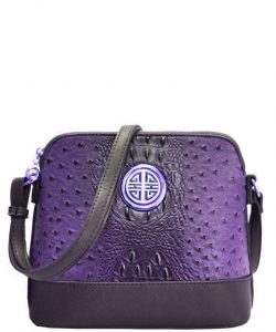 Ostrich Croc Satchel Messenger Bag OS026 PURPLE