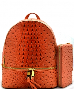 Handbag Inc Ostrich Vegan Leather Backpack and Wallet OS1062 TANGERINE
