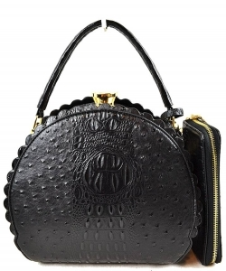 Fashion Faux Leather Ostrich Handbag  QW1963 BLACK