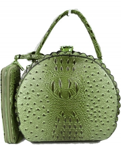 Fashion Faux Leather Ostrich Handbag  QW1963 GREEN