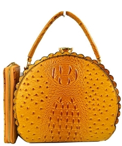 Fashion Faux Leather Ostrich Handbag  QW1963 MUSTARD