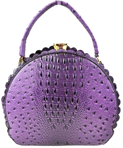 Fashion Faux Leather Ostrich Handbag  QW1963 PURPLE