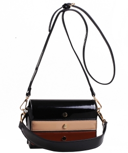 Patent Leather Multi color  Cross body BAG EW2163 BLACK/MULTI