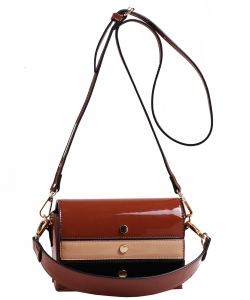 Patent Leather Multi color  Cross body BAG EW2163 BROWN/MULTI