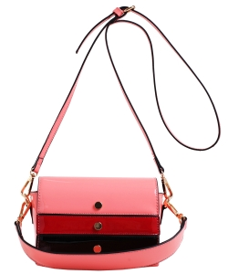 Patent Leather Multi color  Cross body BAG EW2163 BLUSH/MULTI