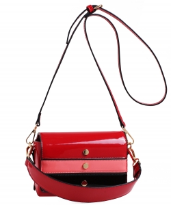 Patent Leather Multi color  Cross body BAG EW2163 BURGANDY/MULTI