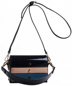 Patent Leather Multi color  Cross body BAG EW2163 NAVY/MULTI