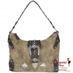 Western Inspired Leatherette Handbag w/ Rhinestone and Stud Decor and Buckle.