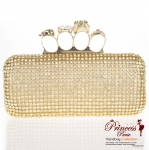 Designer Inspired Evening Bag Covered In Rhinestone Pattern w/ Skull Accent Four Finger Handle