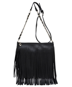 Faux Leather Fringe Hand Bag E031 BLACK