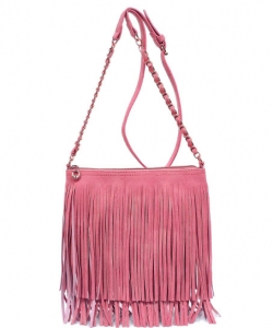Faux Leather Fringe Hand Bag E031 DPINK