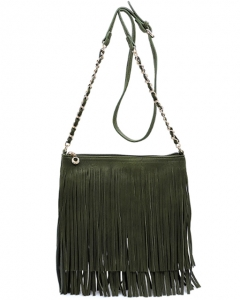 Faux Leather Fringe Hand Bag E031 OLIVE