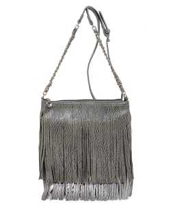 Faux Leather Fringe Hand Bag E031 TAN