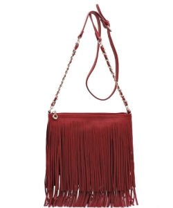 Faux Leather Fringe Hand Bag E031 RED