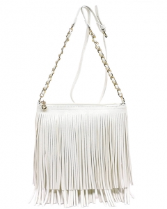 Faux Leather Fringe Hand Bag E031 WHITE