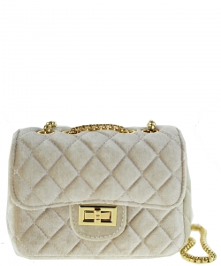 Quilted Velvet Cute Mini Crossbody Satchel F6696-5 APRICOT