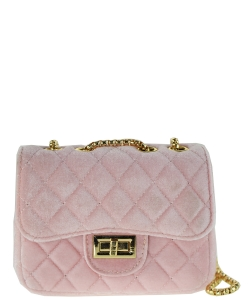 Quilted Velvet Cute Mini Crossbody Satchel F6696-5 PINK