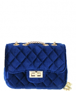 Quilted Velvet Cute Mini Crossbody Satchel F6696-5 ROYAL BLUE