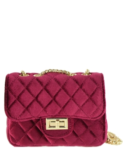 Quilted Velvet Cute Mini Crossbody Satchel F6696-5 RED