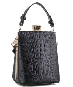 Ostrich Diamond Top Twist Lock Closure Messenger Bag 87953 BLACK