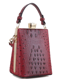 Ostrich Diamond Top Twist Lock Closure Messenger Bag 87953  BURGANDY