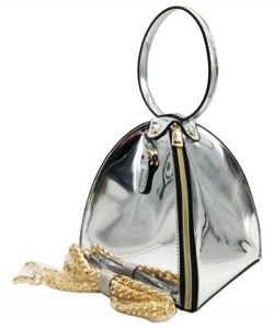 Zipper Triangle Chain Crossbody Bag HO515 SILVER