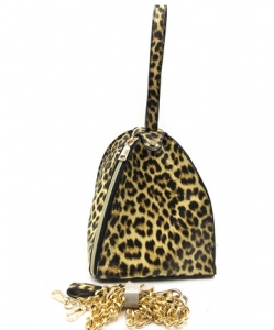 Zipper Triangle Leopard Chain Crossbody Bag HO516 LBRW