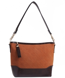 Two Tone Fashion Handbag For Women Top Handle Satchel Bag EW2117 BROWN/COFFEE