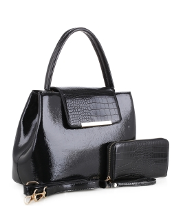 2 in 1 Handbag w Wallet Set embossed glossy KBW-1968 BLACK