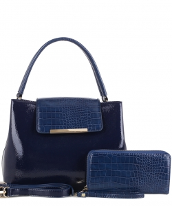 2 in 1 Handbag w Wallet Set embossed glossy KBW-1968 NAVY