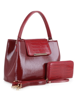 2 in 1 Handbag w Wallet Set embossed glossy KBW-1968 WINE