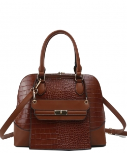 Stylish Modern Fashion Brief Case Satchel with Long strap L1185 BROWN