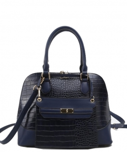Stylish Modern Fashion Brief Case Satchel with Long strap L1185 NAVY