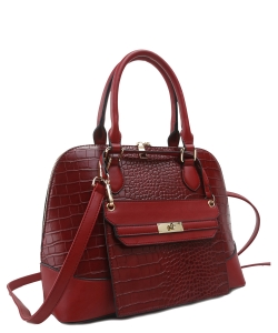 Stylish Modern Fashion Brief Case Satchel with Long strap L1185 RED
