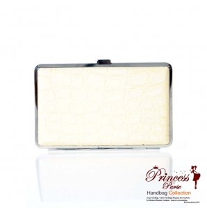 Sleek Durable Card Holder Gator Skin & Silver Tone Trim