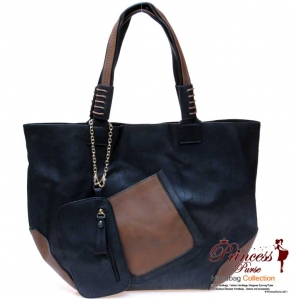 Designer Inspired 3 Piece Leatherette Bag w/ Pocket Front and Two Tone Color