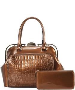 2 in 1 Handbag w Wallet Set embossed glossy LP7086 BRONZE