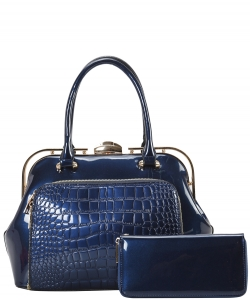 2 in 1 Handbag w Wallet Set embossed glossy LP7086 NAVY