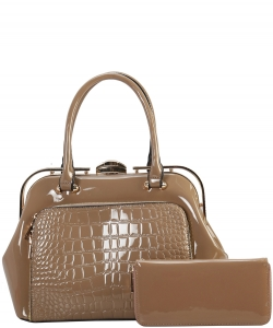 2 in 1 Handbag w Wallet Set embossed glossy LP7086 TAUPE