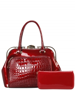 2 in 1 Handbag w Wallet Set embossed glossy LP7086 WINE