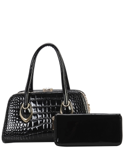 2 in 1 Handbag w Wallet Set embossed glossy LP7087 BLACK