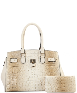 2 in 1 Handbag w Wallet Set crocodile embossed Glossy CY7083 WBIEGE