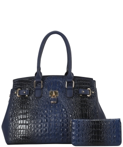 2 in 1 Handbag w Wallet Set crocodile embossed Glossy CY7083 WBLUE
